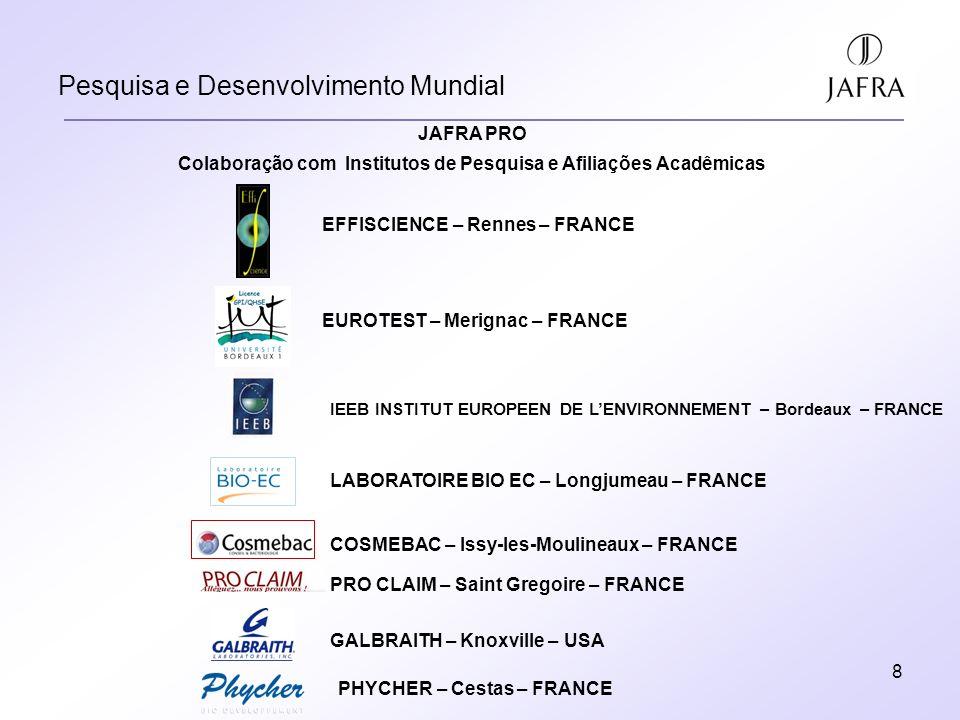 8 Pesquisa e Desenvolvimento Mundial EFFISCIENCE – Rennes – FRANCE EUROTEST – Merignac – FRANCE IEEB INSTITUT EUROPEEN DE LENVIRONNEMENT – Bordeaux – FRANCE LABORATOIRE BIO EC – Longjumeau – FRANCE COSMEBAC – Issy-les-Moulineaux – FRANCE PRO CLAIM – Saint Gregoire – FRANCE GALBRAITH – Knoxville – USA PHYCHER – Cestas – FRANCE JAFRA PRO Colaboração com Institutos de Pesquisa e Afiliações Acadêmicas