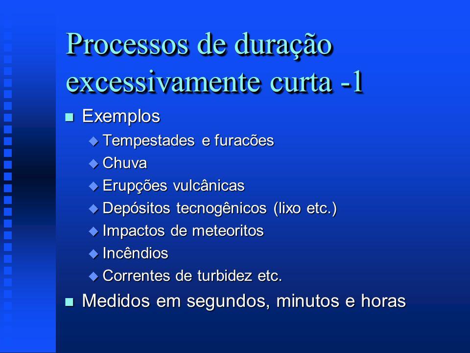 Processos de duração excessivamente curta -1 n Exemplos u Tempestades e furacões u Chuva u Erupções vulcânicas u Depósitos tecnogênicos (lixo etc.) u