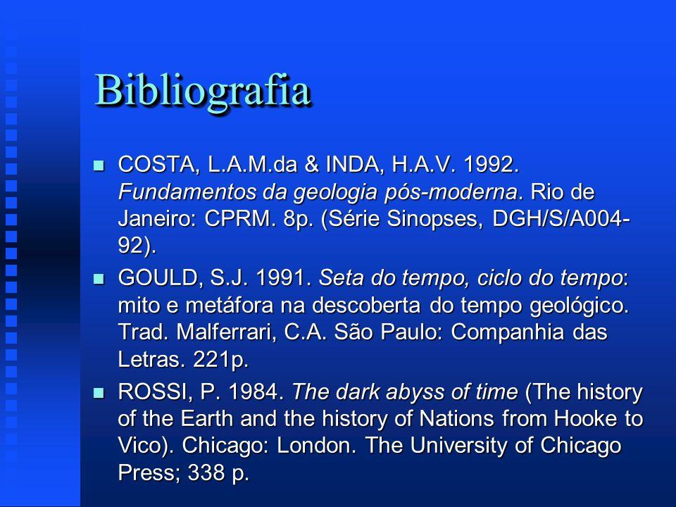 BibliografiaBibliografia n COSTA, L.A.M.da & INDA, H.A.V. 1992. Fundamentos da geologia pós-moderna. Rio de Janeiro: CPRM. 8p. (Série Sinopses, DGH/S/
