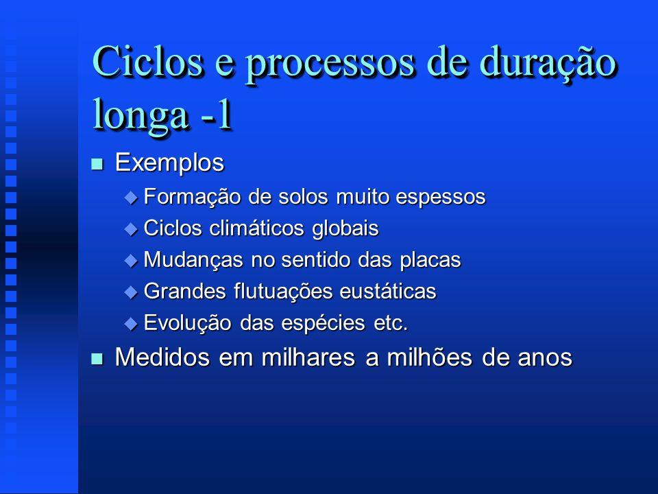 Ciclos e processos de duração longa -1 n Exemplos u Formação de solos muito espessos u Ciclos climáticos globais u Mudanças no sentido das placas u Gr