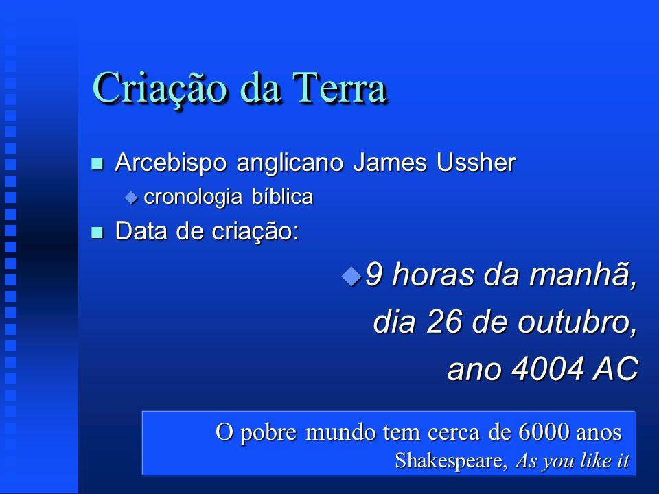 Criação da Terra n Arcebispo anglicano James Ussher u cronologia bíblica n Data de criação: u 9 horas da manhã, dia 26 de outubro, ano 4004 AC O pobre