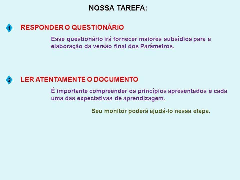 NOSSA TAREFA: Esse questionário irá fornecer maiores subsídios para a elaboração da versão final dos Parâmetros. RESPONDER O QUESTIONÁRIO 1 É importan