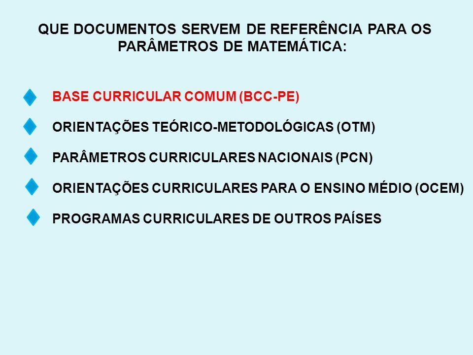 QUE DOCUMENTOS SERVEM DE REFERÊNCIA PARA OS PARÂMETROS DE MATEMÁTICA: BASE CURRICULAR COMUM (BCC-PE) ORIENTAÇÕES TEÓRICO-METODOLÓGICAS (OTM) PARÂMETRO