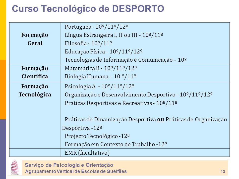 Serviço de Psicologia e Orientação Agrupamento Vertical de Escolas de Gueifães 13 Formação Geral Português - 10º/11º/12º Língua Estrangeira I, II ou III - 10º/11º Filosofia - 10º/11º Educação Física - 10º/11º/12º Tecnologias de Informação e Comunicação – 10º Formação Cientifica Matemática B - 10º/11º/12º Biologia Humana – 10 º/11º Formação Tecnológica Psicologia A - 10º/11º/12º Organização e Desenvolvimento Desportivo - 10º/11º/12º Práticas Desportivas e Recreativas - 10º/11º Práticas de Dinamização Desportiva ou Práticas de Organização Desportiva -12º Projecto Tecnológico -12º Formação em Contexto de Trabalho -12º EMR (facultativo) Curso Tecnológico de DESPORTO