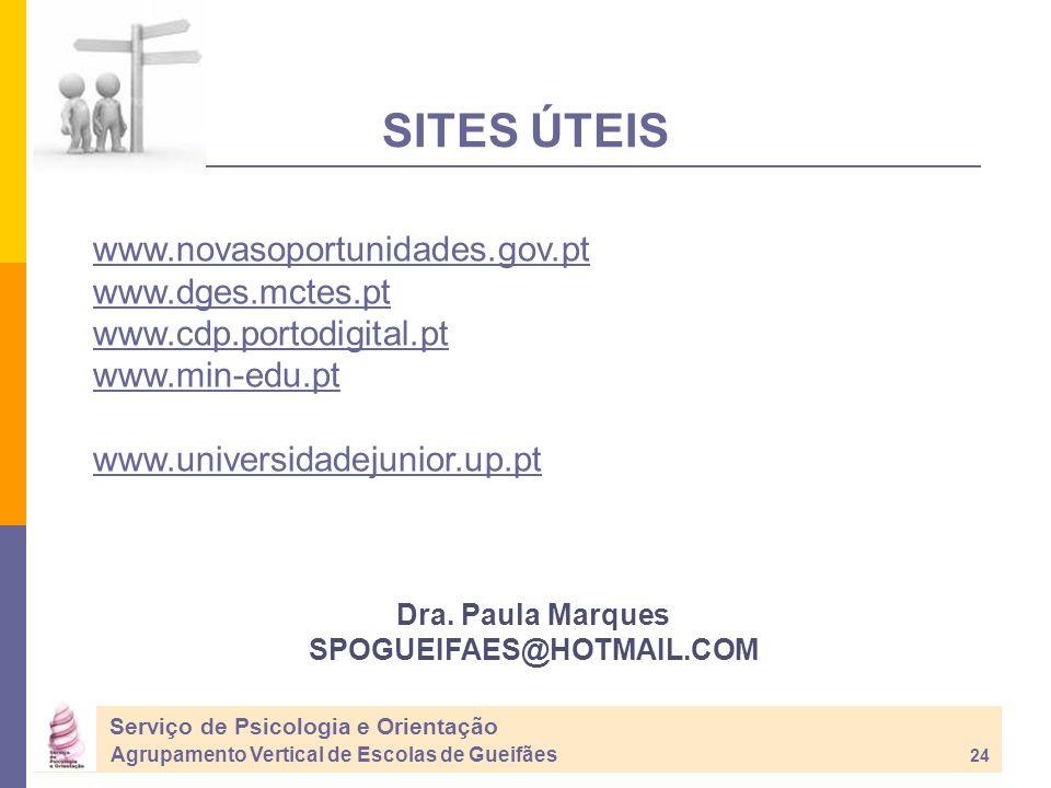 SITES ÚTEIS Dra. Paula Marques SPOGUEIFAES@HOTMAIL.COM www.novasoportunidades.gov.pt www.dges.mctes.pt www.cdp.portodigital.pt www.min-edu.pt www.univ