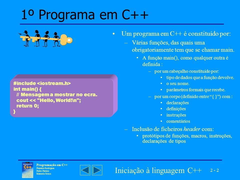 2 - 2 Programação em C++ Pimenta Rodrigues Pedro Pereira Manuela Sousa Iniciação à linguagem C++ 1º Programa em C++ Um programa em C++ é constituído por: –Várias funções, das quais uma obrigatoriamente tem que se chamar main.