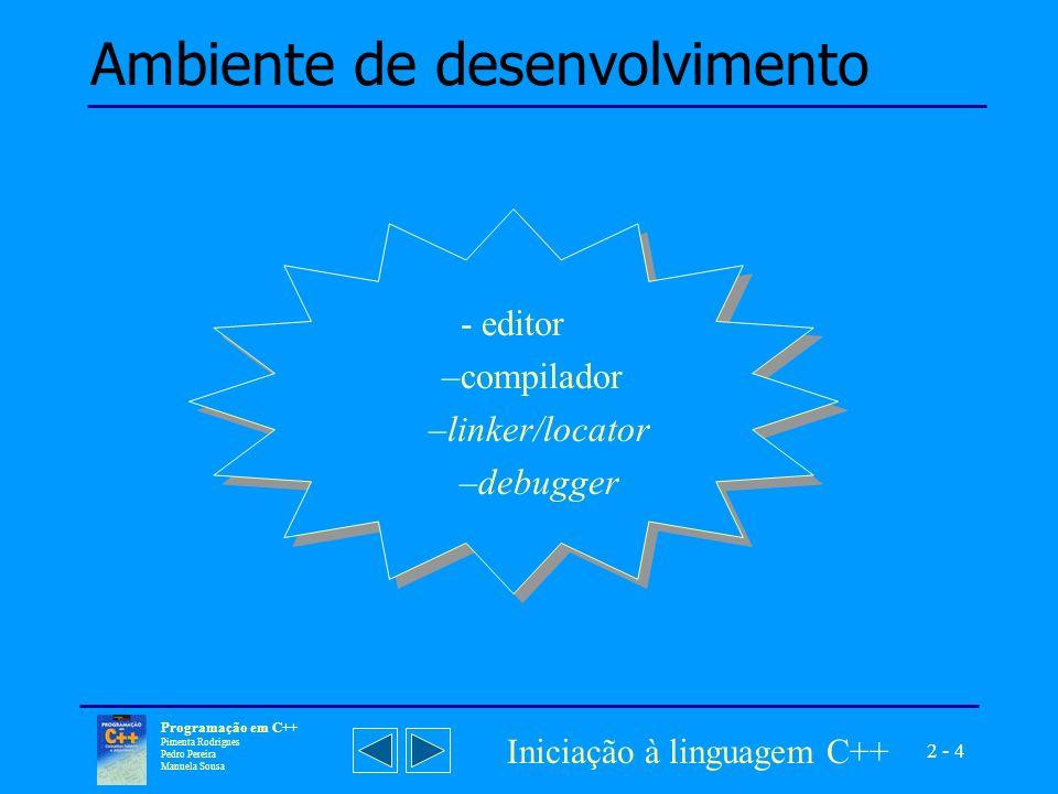 2 - 5 Programação em C++ Pimenta Rodrigues Pedro Pereira Manuela Sousa Iniciação à linguagem C++ Fases de geração de um programa Sempre que um programa for constituído por vários módulos, torna-se necessário criar um projecto, indicando quais os módulos que devem ser ligados, na fase de criação do programa final.
