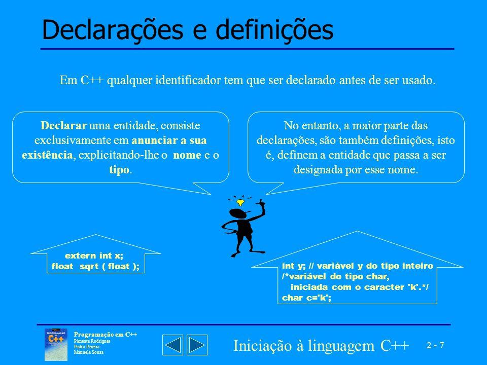 2 - 18 Programação em C++ Pimenta Rodrigues Pedro Pereira Manuela Sousa Iniciação à linguagem C++ Instruções de controlo de execução Repetição condicional - while, for, do-while