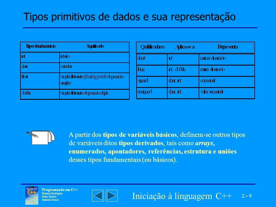 2 - 10 Programação em C++ Pimenta Rodrigues Pedro Pereira Manuela Sousa Iniciação à linguagem C++ Alcance e espaço de memória ocupado