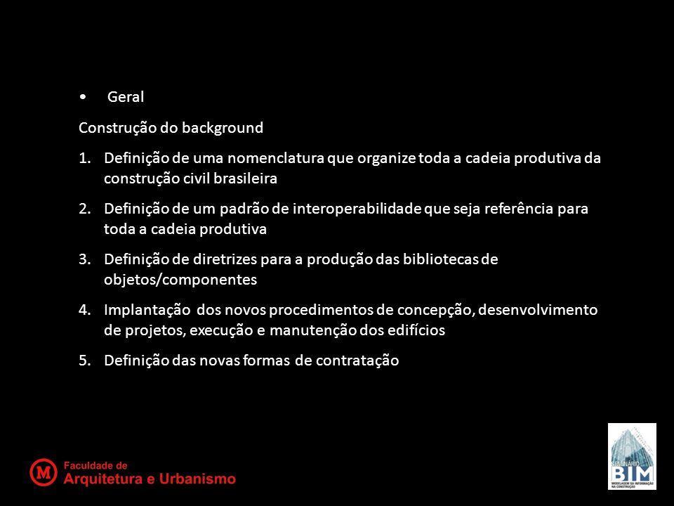 Geral Construção do background 1.Definição de uma nomenclatura que organize toda a cadeia produtiva da construção civil brasileira 2.Definição de um p