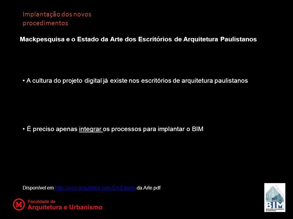 Implantação dos novos procedimentos Mackpesquisa e o Estado da Arte dos Escritórios de Arquitetura Paulistanos A cultura do projeto digital já existe