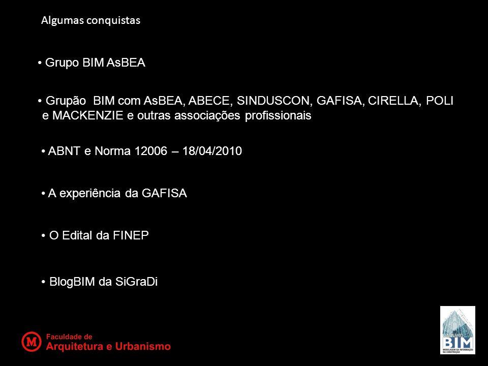 Grupo BIM AsBEA Grupão BIM com AsBEA, ABECE, SINDUSCON, GAFISA, CIRELLA, POLI e MACKENZIE e outras associações profissionais ABNT e Norma 12006 – 18/0