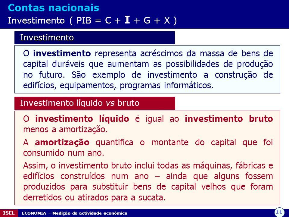 11 ISEL ECONOMIA – Medição da actividade económica Contas nacionais Investimento ( PIB = C + I + G + X ) Investimento Investimento O investimento repr