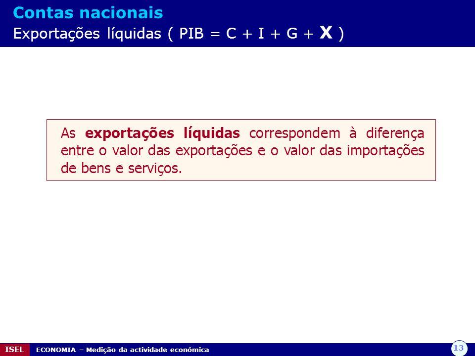 13 ISEL ECONOMIA – Medição da actividade económica Contas nacionais Exportações líquidas ( PIB = C + I + G + X ) As exportações líquidas correspondem