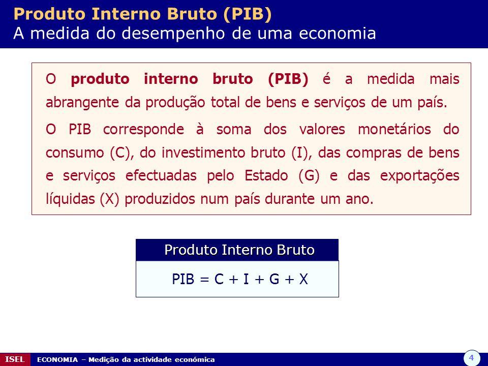 4 ISEL ECONOMIA – Medição da actividade económica Produto Interno Bruto (PIB) A medida do desempenho de uma economia O produto interno bruto (PIB) é a