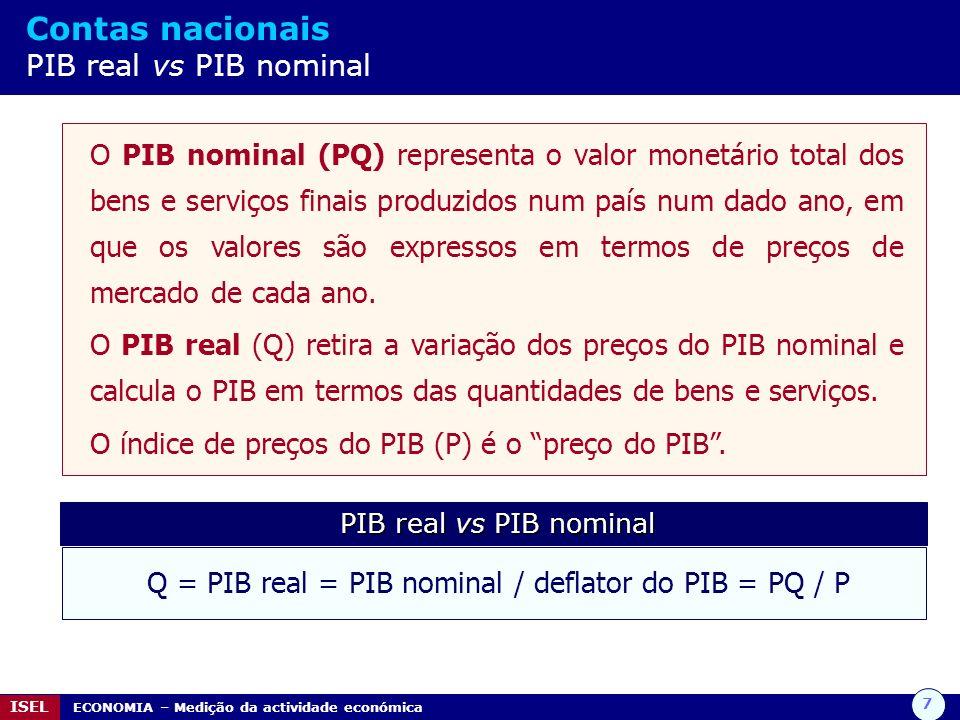 7 ISEL ECONOMIA – Medição da actividade económica Contas nacionais PIB real vs PIB nominal O PIB nominal (PQ) representa o valor monetário total dos b