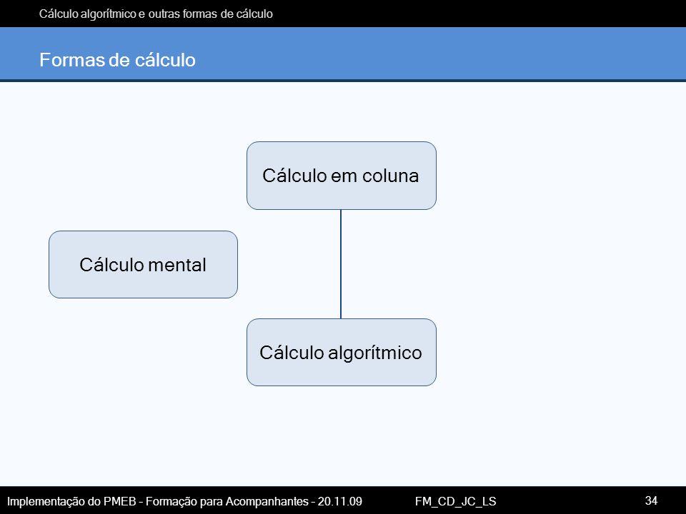 Cálculo algorítmico e outras formas de cálculo Implementação do PMEB – Formação para Acompanhantes – 20.11.09 FM_CD_JC_LS Formas de cálculo Cálculo me