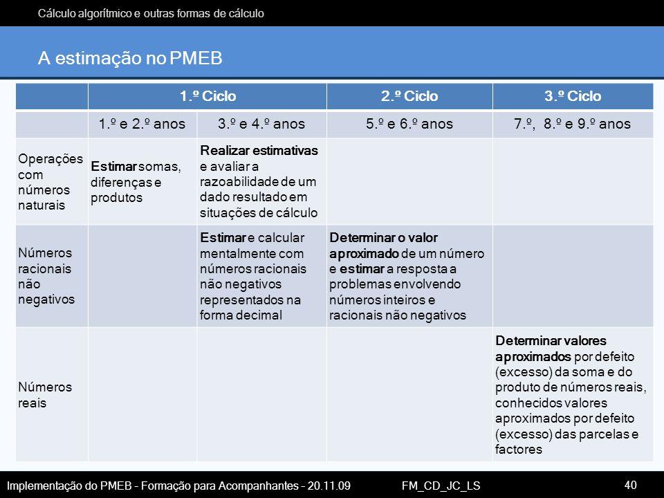 Cálculo algorítmico e outras formas de cálculo Implementação do PMEB – Formação para Acompanhantes – 20.11.09 FM_CD_JC_LS A estimação no PMEB 1.º Cicl