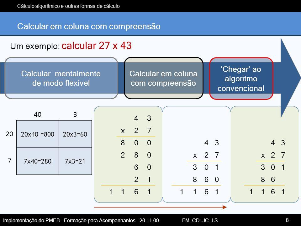 Cálculo algorítmico e outras formas de cálculo Implementação do PMEB – Formação para Acompanhantes – 20.11.09 FM_CD_JC_LS Calcular em coluna com compr