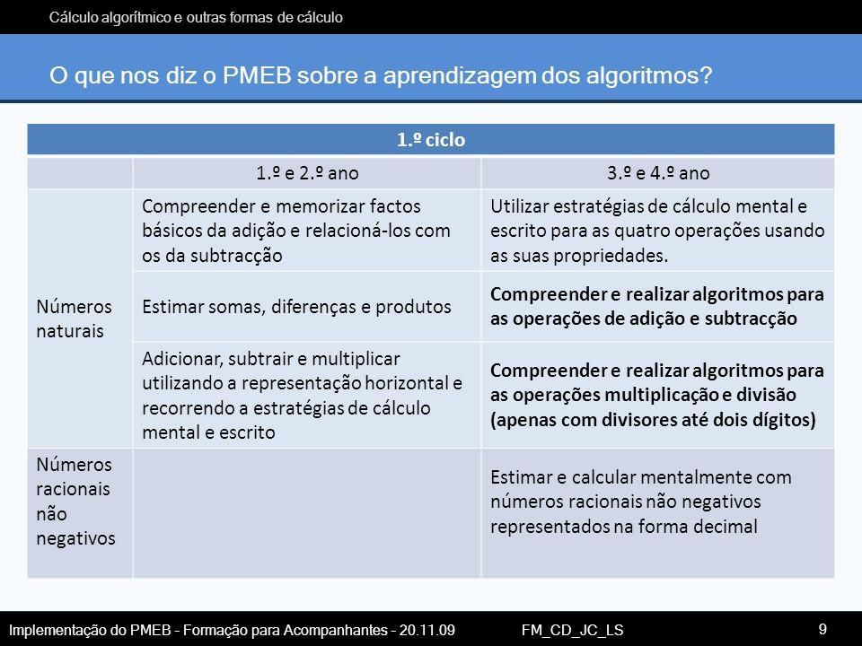 Cálculo algorítmico e outras formas de cálculo Implementação do PMEB – Formação para Acompanhantes – 20.11.09 FM_CD_JC_LS O que nos diz o PMEB sobre a