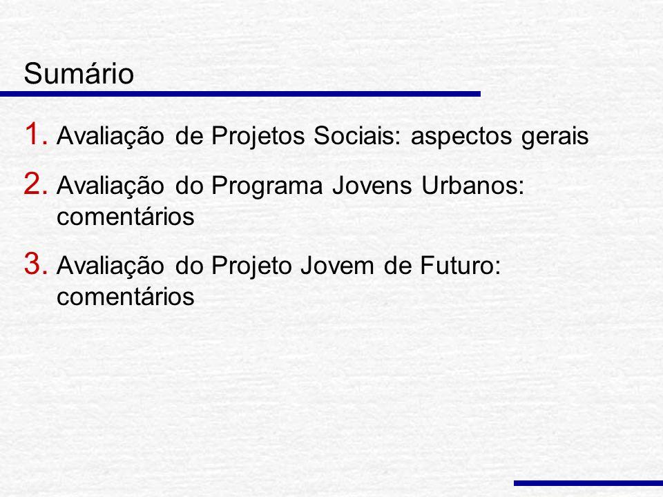 Sumário 1. Avaliação de Projetos Sociais: aspectos gerais 2.