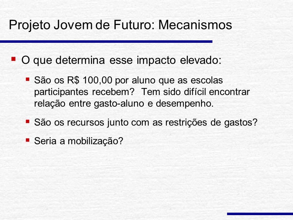 Projeto Jovem de Futuro: Mecanismos O que determina esse impacto elevado: São os R$ 100,00 por aluno que as escolas participantes recebem.