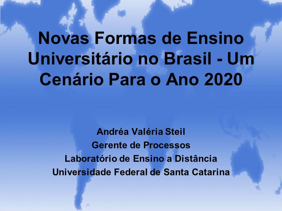 Novas Formas de Ensino Universitário no Brasil - Um Cenário Para o Ano 2020 Andréa Valéria Steil Gerente de Processos Laboratório de Ensino a Distânci