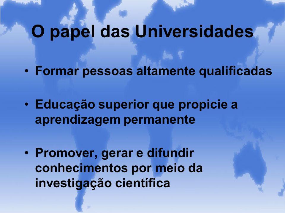 O papel das Universidades Formar pessoas altamente qualificadas Educação superior que propicie a aprendizagem permanente Promover, gerar e difundir co