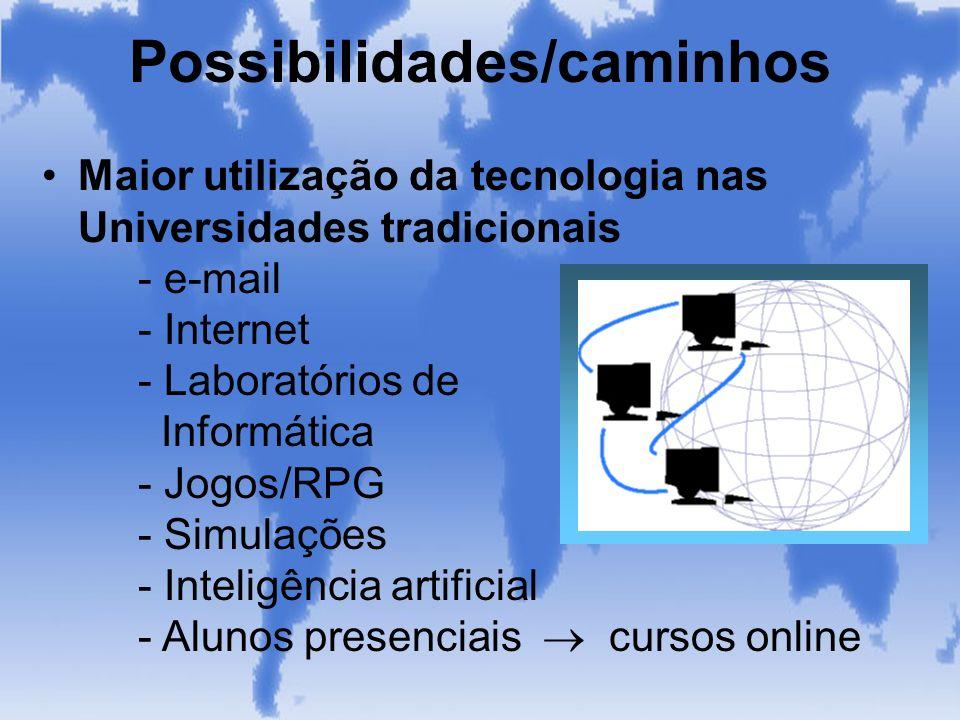 Possibilidades/caminhos Maior utilização da tecnologia nas Universidades tradicionais - e-mail - Internet - Laboratórios de Informática - Jogos/RPG -