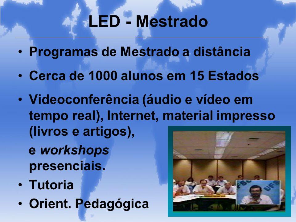 LED - Mestrado Programas de Mestrado a distância Cerca de 1000 alunos em 15 Estados Videoconferência (áudio e vídeo em tempo real), Internet, material