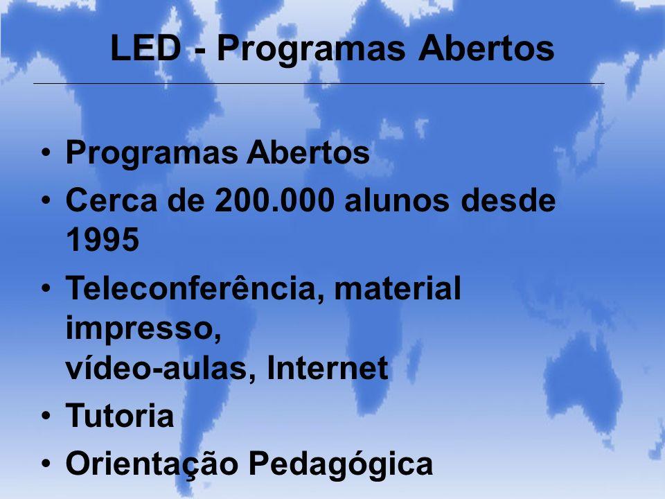 Programas Abertos Cerca de 200.000 alunos desde 1995 Teleconferência, material impresso, vídeo-aulas, Internet Tutoria Orientação Pedagógica LED - Pro