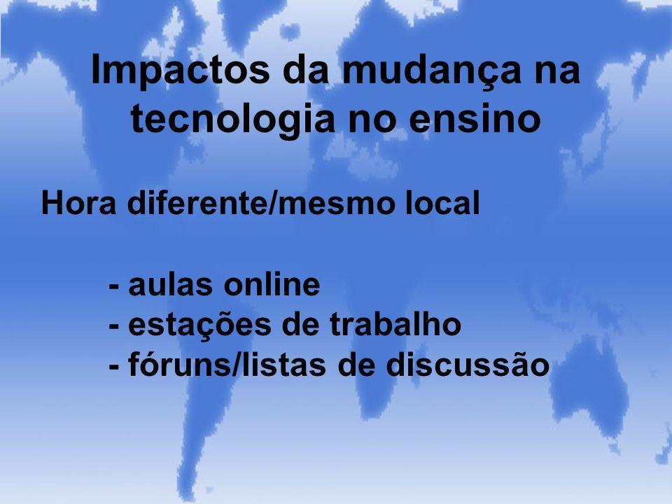 Hora diferente/mesmo local - aulas online - estações de trabalho - fóruns/listas de discussão Impactos da mudança na tecnologia no ensino