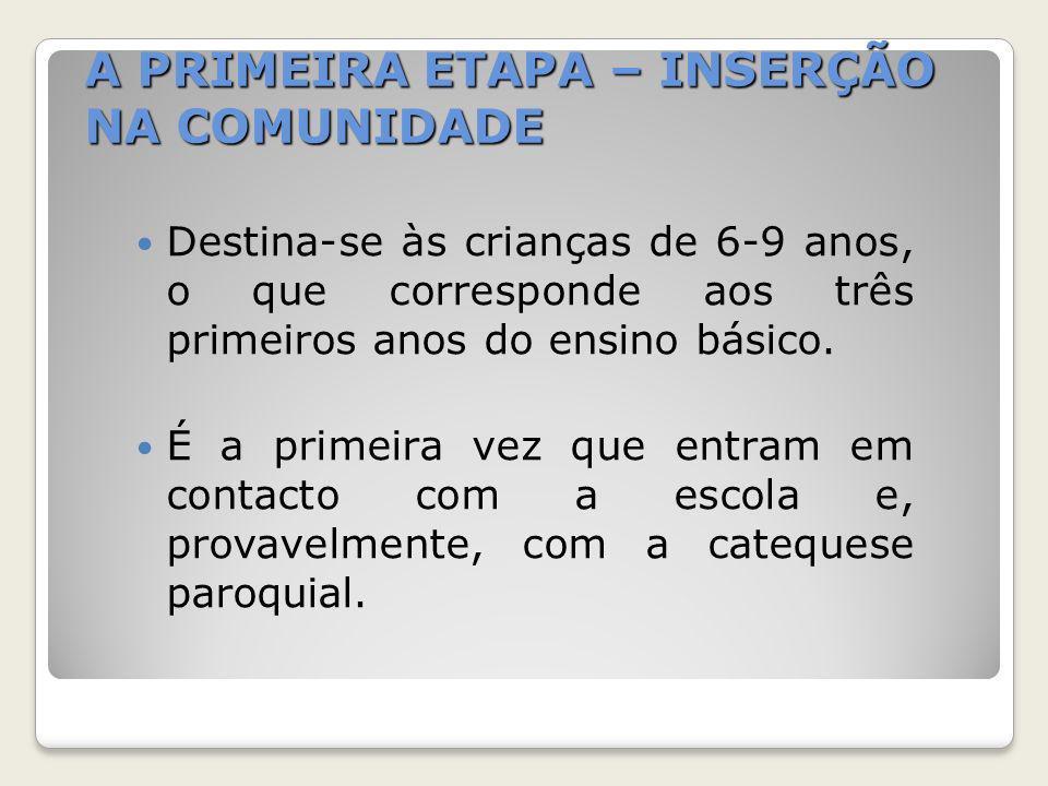 A PRIMEIRA ETAPA – INSERÇÃO NA COMUNIDADE Destina-se às crianças de 6-9 anos, o que corresponde aos três primeiros anos do ensino básico. É a primeira