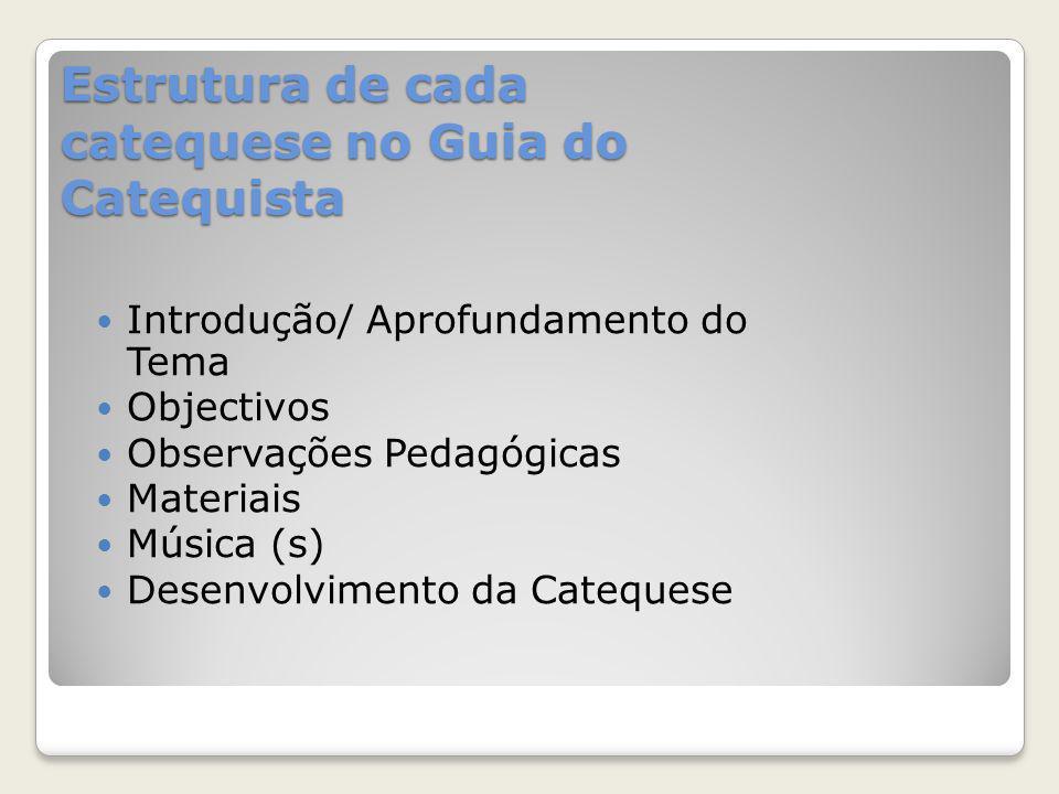 Estrutura de cada catequese no Guia do Catequista Introdução/ Aprofundamento do Tema Objectivos Observações Pedagógicas Materiais Música (s) Desenvolv