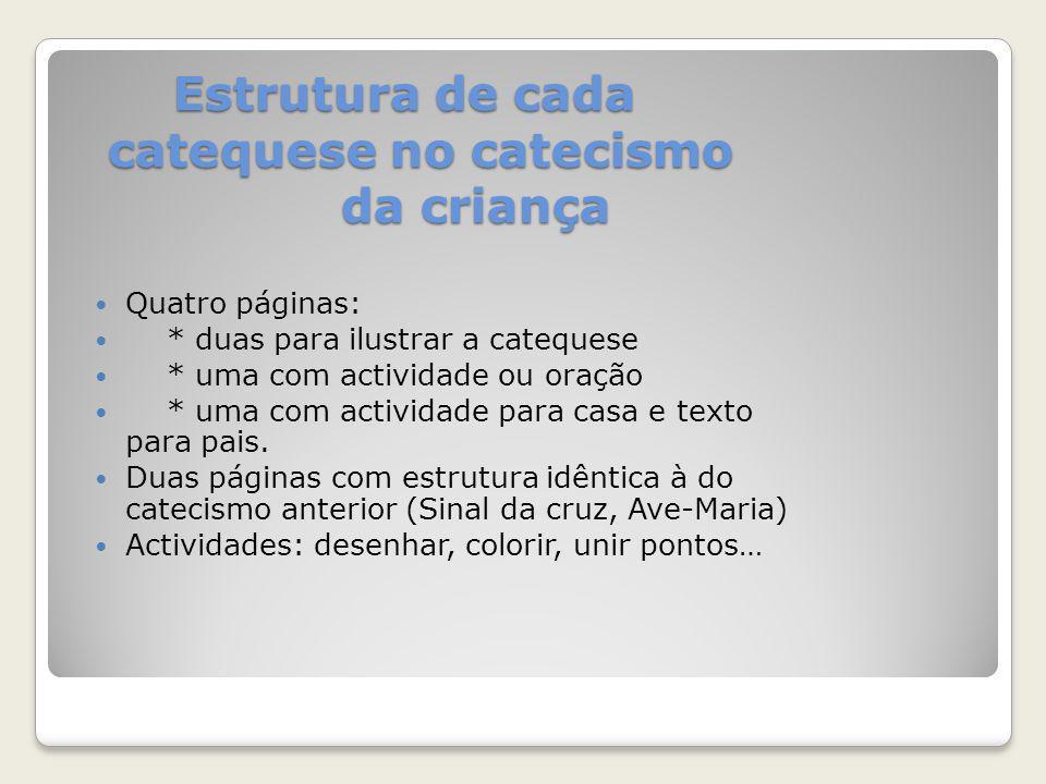 OBSERVAÇÕES 30 catequeses, incluindo: * Festa do Acolhimento (cateq.
