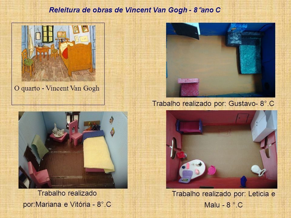 Trabalho realizado por: Leticia e Malu - 8 °.C Trabalho realizado por:Mariana e Vitória - 8°.C O quarto - Vincent Van Gogh Trabalho realizado por: Gus