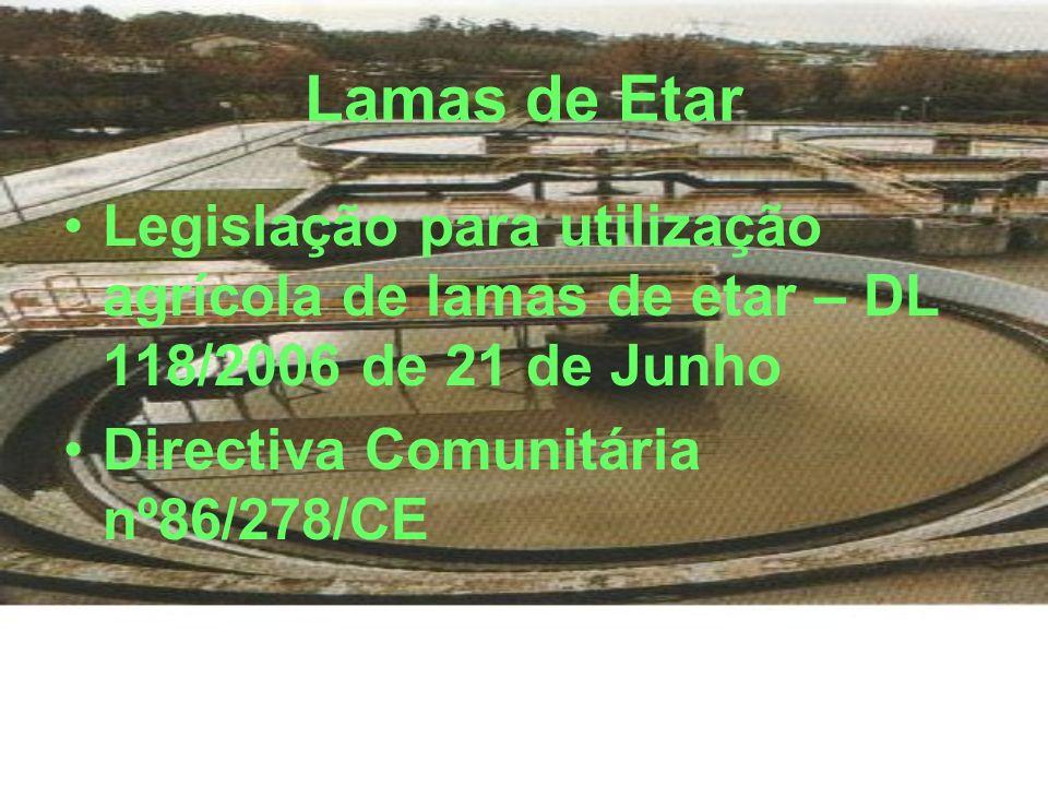 Lamas de Etar Legislação para utilização agrícola de lamas de etar – DL 118/2006 de 21 de Junho Directiva Comunitária nº86/278/CE