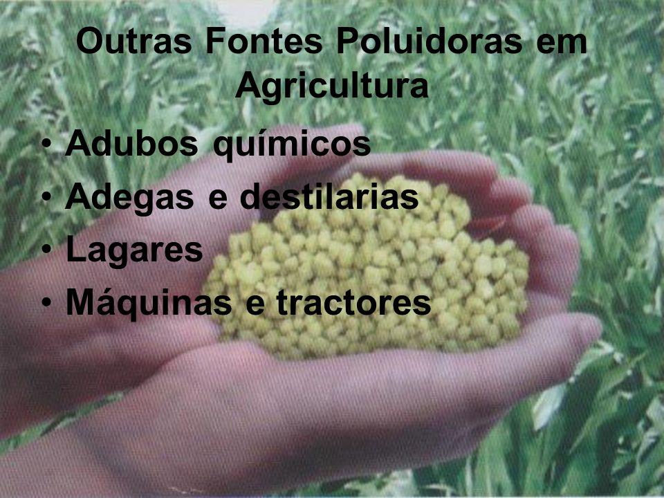 Outras Fontes Poluidoras em Agricultura Adubos químicos Adegas e destilarias Lagares Máquinas e tractores