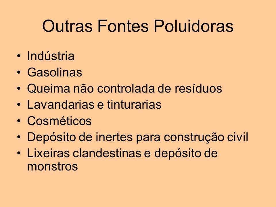 Outras Fontes Poluidoras Indústria Gasolinas Queima não controlada de resíduos Lavandarias e tinturarias Cosméticos Depósito de inertes para construçã
