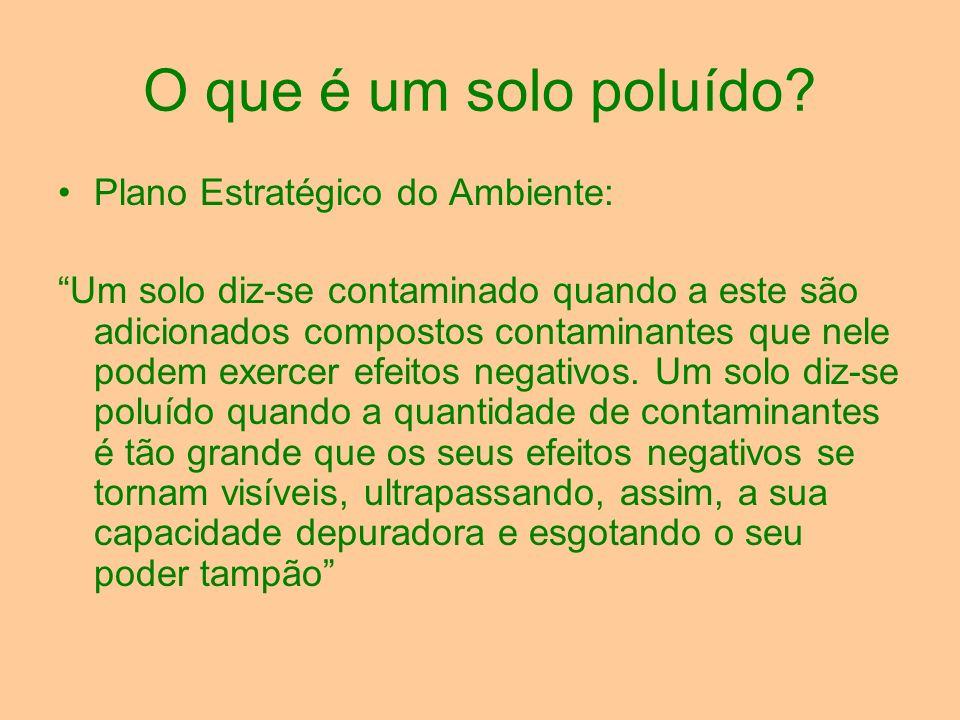 O que é um solo poluído? Plano Estratégico do Ambiente: Um solo diz-se contaminado quando a este são adicionados compostos contaminantes que nele pode