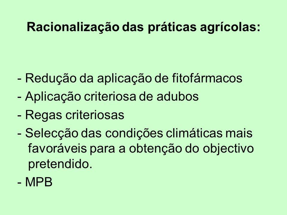 Racionalização das práticas agrícolas: - Redução da aplicação de fitofármacos - Aplicação criteriosa de adubos - Regas criteriosas - Selecção das cond