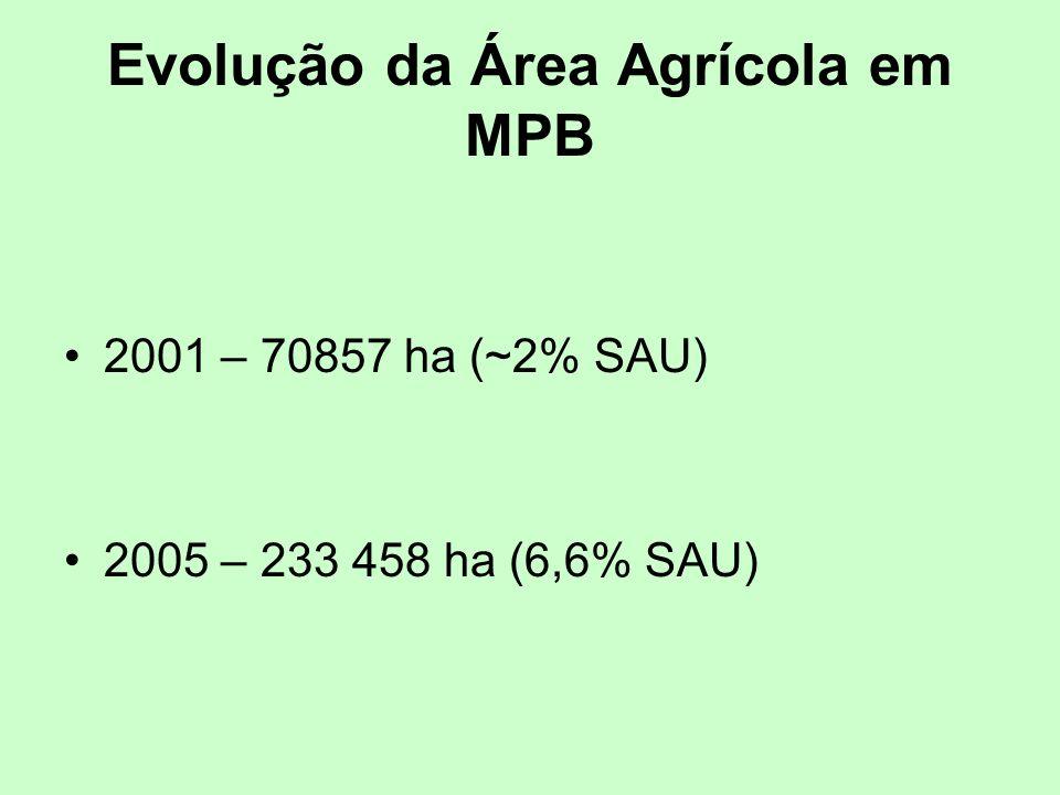 Evolução da Área Agrícola em MPB 2001 – 70857 ha (~2% SAU) 2005 – 233 458 ha (6,6% SAU)