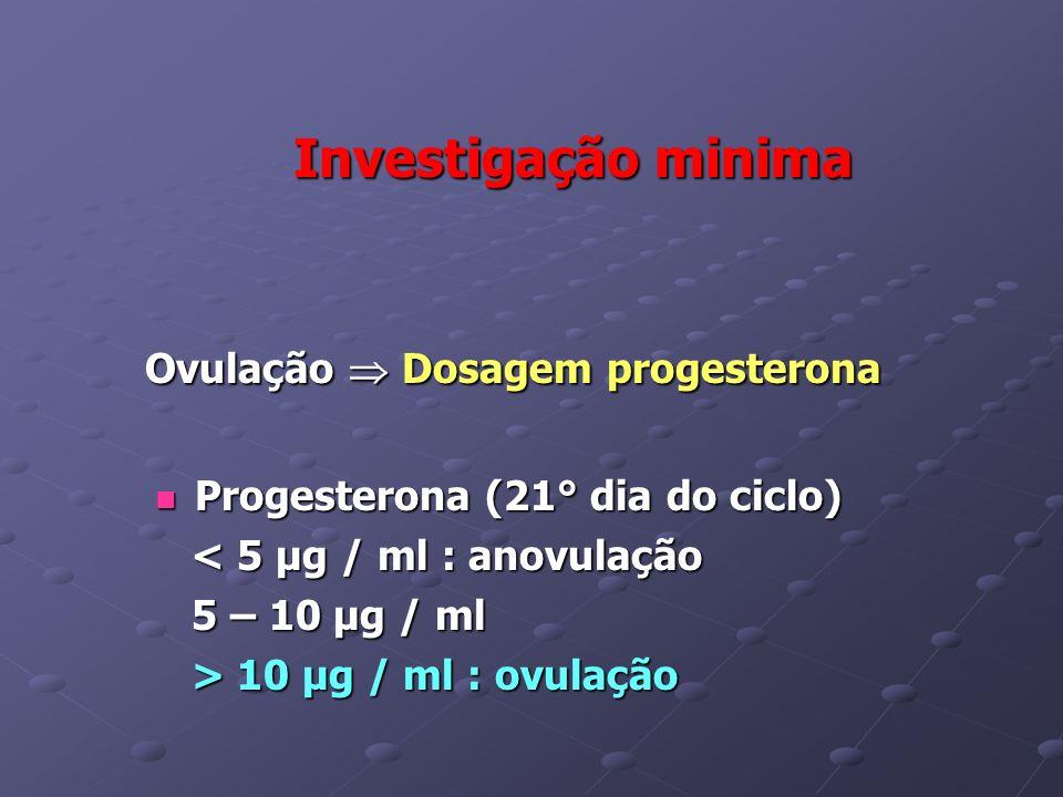 Investigação minima Investigação minima Ovulação Dosagem progesterona Ovulação Dosagem progesterona Progesterona (21° dia do ciclo) Progesterona (21°