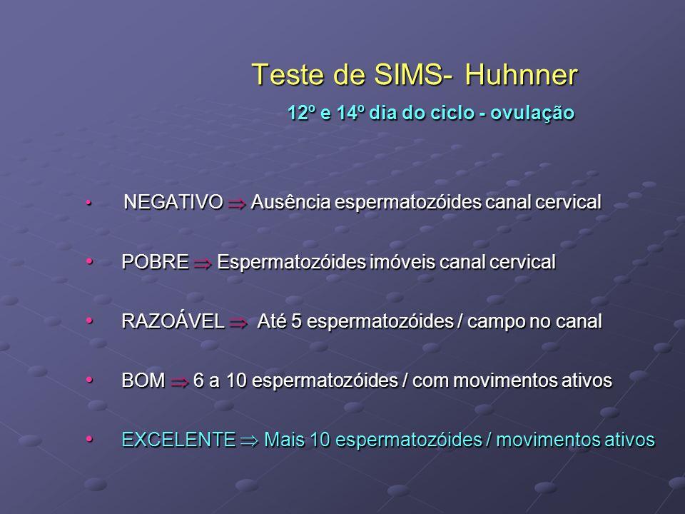 Teste de SIMS- Huhnner 12º e 14º dia do ciclo - ovulação Teste de SIMS- Huhnner 12º e 14º dia do ciclo - ovulação NEGATIVO Ausência espermatozóides ca