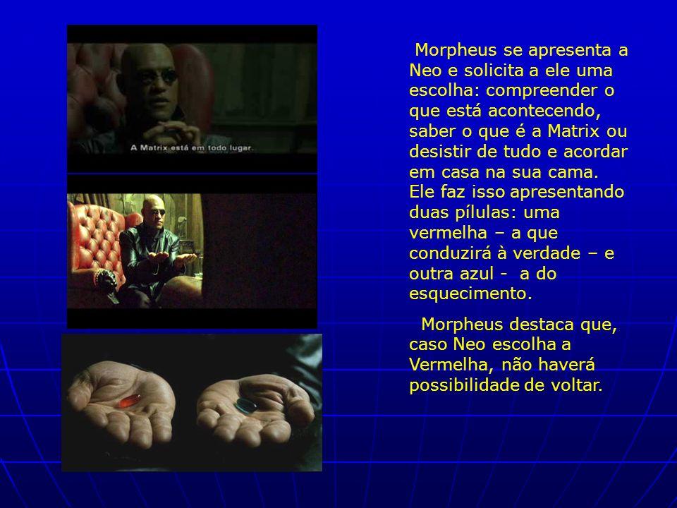 Morpheus se apresenta a Neo e solicita a ele uma escolha: compreender o que está acontecendo, saber o que é a Matrix ou desistir de tudo e acordar em