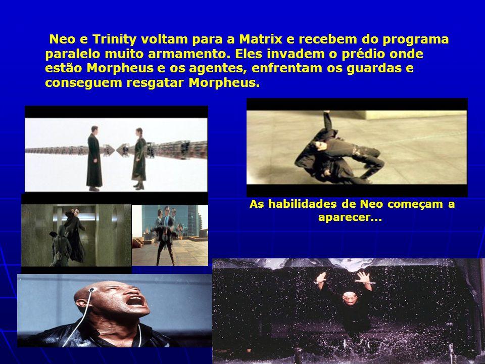 Neo e Trinity voltam para a Matrix e recebem do programa paralelo muito armamento. Eles invadem o prédio onde estão Morpheus e os agentes, enfrentam o