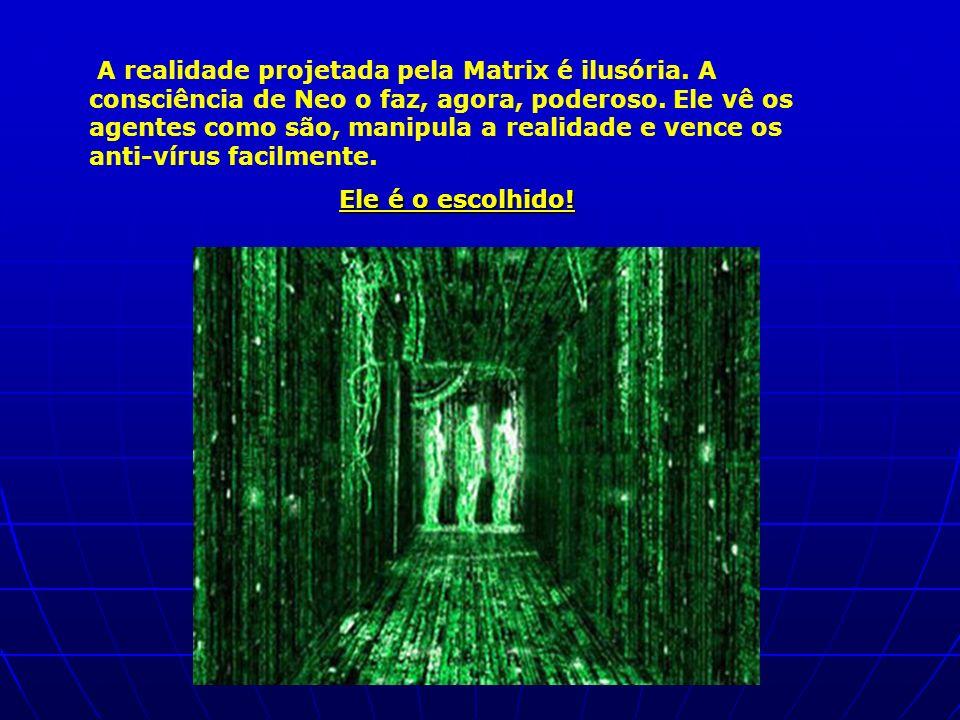 A realidade projetada pela Matrix é ilusória. A consciência de Neo o faz, agora, poderoso. Ele vê os agentes como são, manipula a realidade e vence os