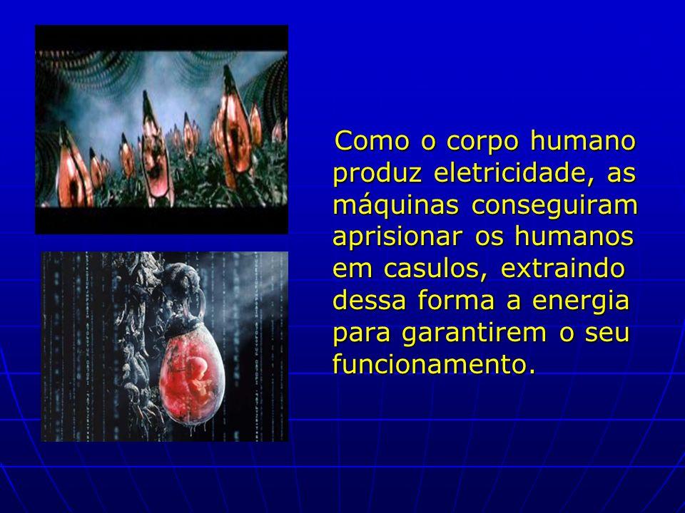 Como o corpo humano produz eletricidade, as máquinas conseguiram aprisionar os humanos em casulos, extraindo dessa forma a energia para garantirem o s