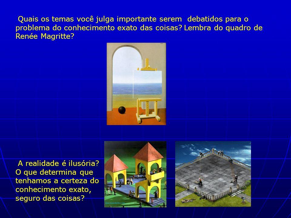 Quais os temas você julga importante serem debatidos para o problema do conhecimento exato das coisas? Lembra do quadro de Renée Magritte? A realidade
