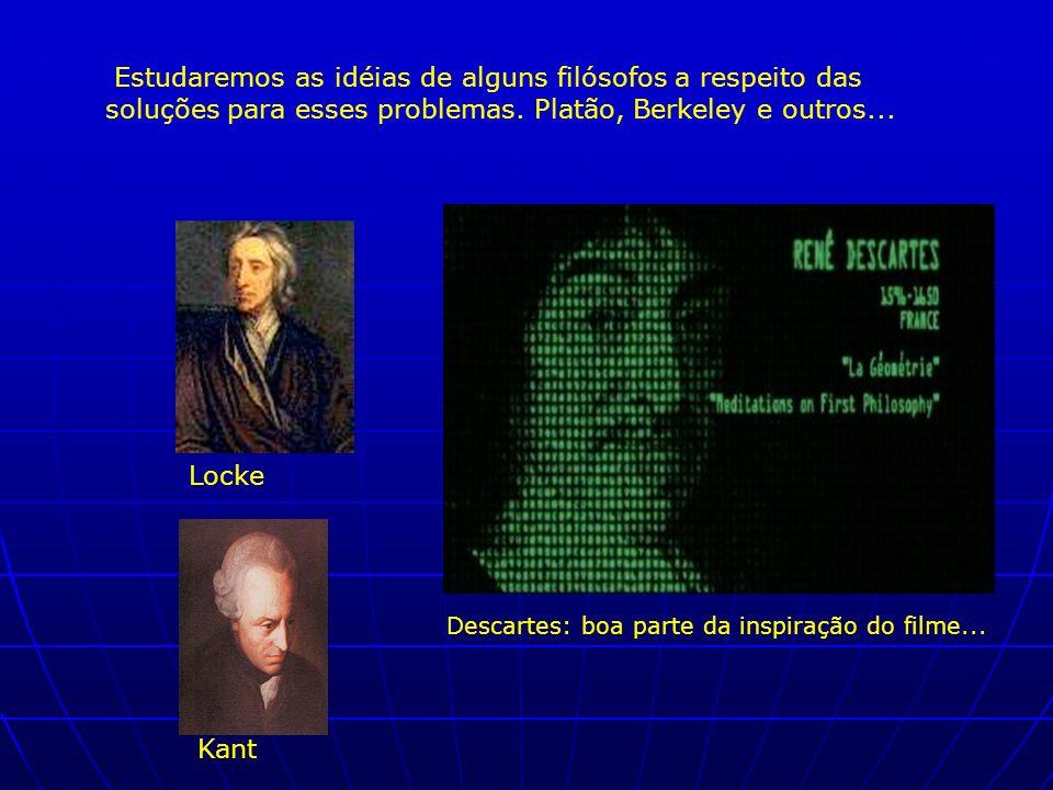 Estudaremos as idéias de alguns filósofos a respeito das soluções para esses problemas. Platão, Berkeley e outros... Locke Kant Descartes: boa parte d